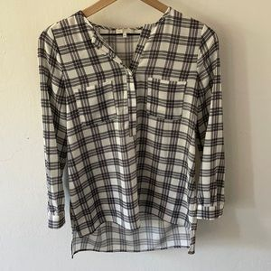 Joie black and white plaid blouse size XS